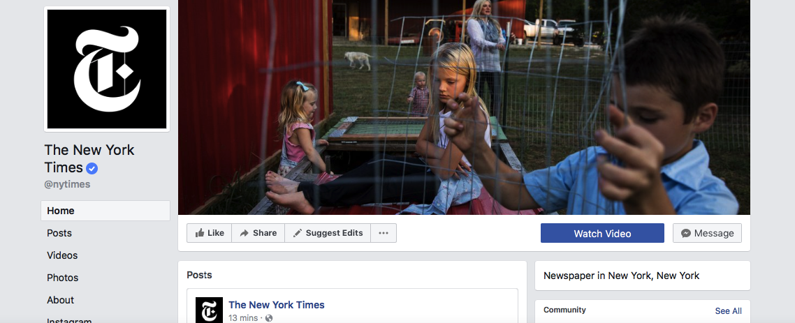 The New York Times uses a CTA button on their Facebook page