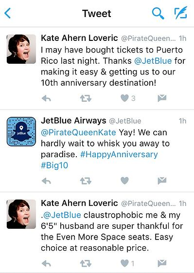 Jetblue engages with their customers on Twitter