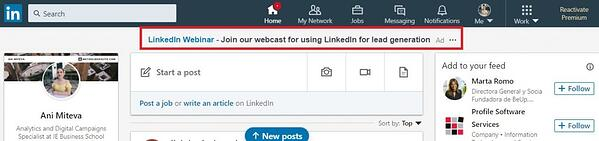 Text ads at the top of LinkedIn feed